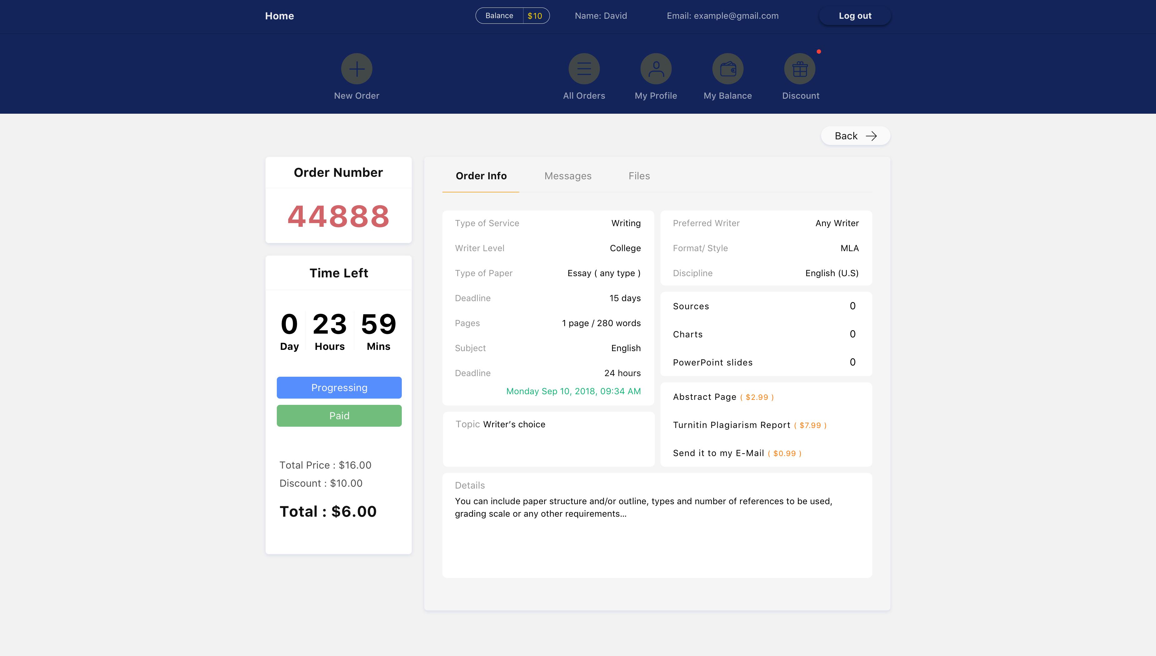 Order Progress